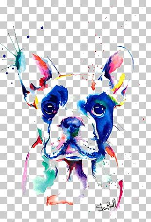French Bulldog Watercolor Painting Drawing PNG