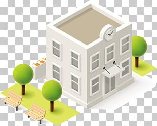 Schoolyard Isometric Projection Building PNG