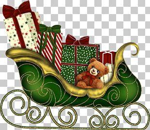 Santa Claus Christmas Card Sled PNG