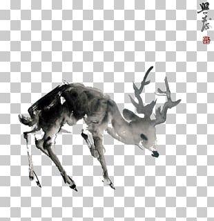 Red Deer Moose Ink Wash Painting PNG