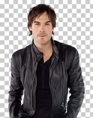 Ian Somerhalder The Vampire Diaries Damon Salvatore Leather Jacket Boone Carlyle PNG