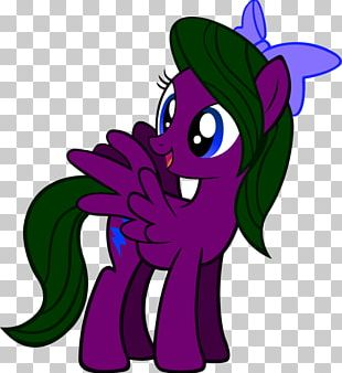 Horse Illustration Purple Flower PNG
