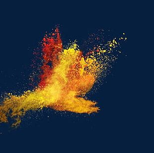 Pour The Splash Of Yellow Red Powder PNG