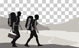 Silhouette Backpacking Drawing Illustration PNG