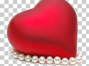 Pearl Heart Valentines Day Buckle Red PNG