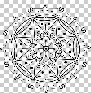 White Circle Point Line Art Symmetry PNG
