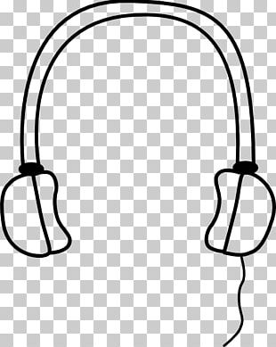 Headphones Microphone Drawing Black And White PNG