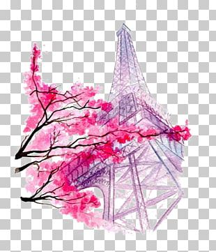 Eiffel Tower Drawing Watercolor Painting Illustration PNG