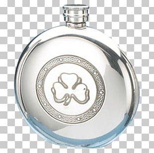 Hip Flask Celtic Knot Shamrock Celts Pewter PNG