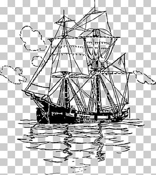 Brigantine Sailing Ship PNG