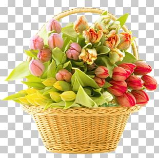 Basket Of Flowers Flower Bouquet PNG