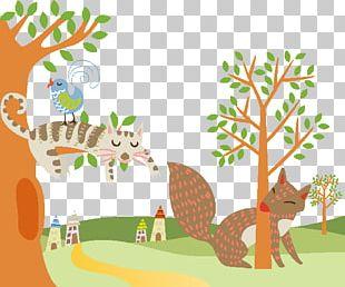 Fox Cartoon Painting Illustration PNG