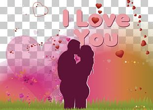 Valentines Day Couple Wish Greeting Card PNG
