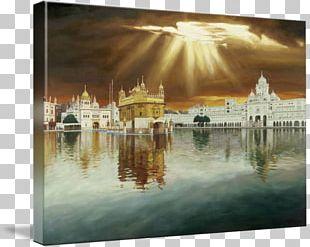 Golden Temple Oil Painting Reproduction Canvas Print Frames Art PNG