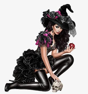 Halloween Witch In Black Material PNG