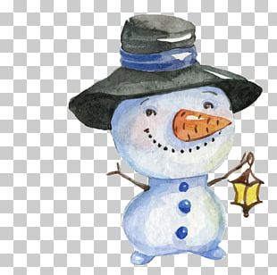 Watercolor Painting Christmas Snowman Drawing PNG