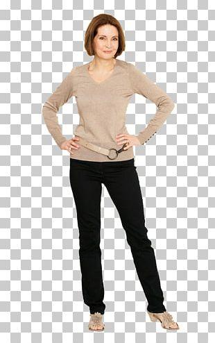 Long-sleeved T-shirt Jeans Long-sleeved T-shirt Waist PNG