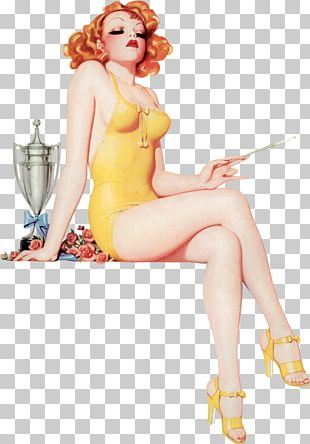 Pin-up Girl Poster Retro Style Canvas PNG