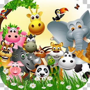 Baby Jungle Animals Mural PNG