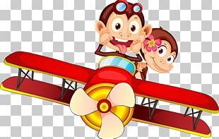 Monkey Cartoon Ape Airplane PNG