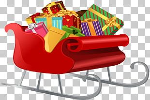 Santa Claus's Reindeer Sled Gift PNG