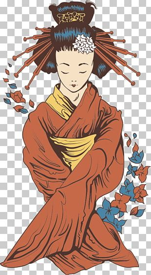 Japanese Geisha Illustration PNG