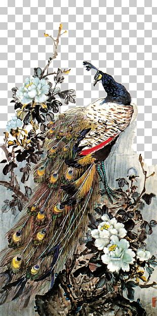 Chinese Painting Moutan Peony Gongbi Bird-and-flower Painting PNG