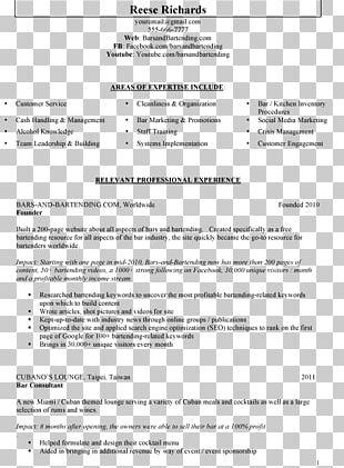 Résumé Template Bartender Essay Writing PNG