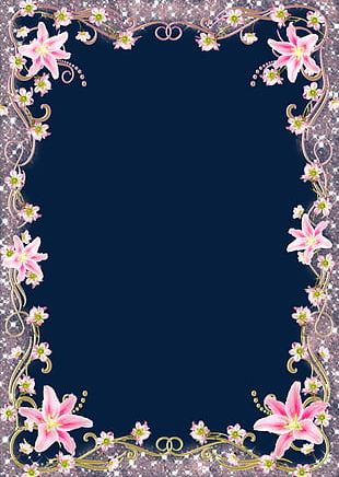 Pink Flowers Border PNG