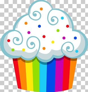 Cupcake Muffin Open Rainbow PNG