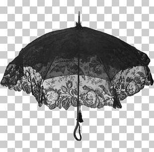 Victorian Era Umbrella Antique Mourning Lace PNG