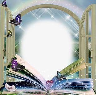 Beautiful Book Butterfly Frame PNG