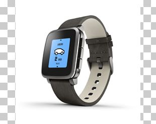 Pebble Time Smartwatch Steel PNG