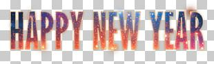 Happy New Year Fireworks Text PNG