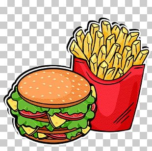 Fast Food French Fries Hamburger Pop Art PNG