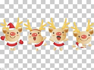 Reindeer Santa Claus Christmas Cartoon PNG