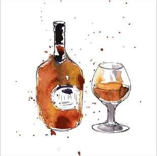 Cognac Champagne Wine Drawing Watercolor Painting PNG