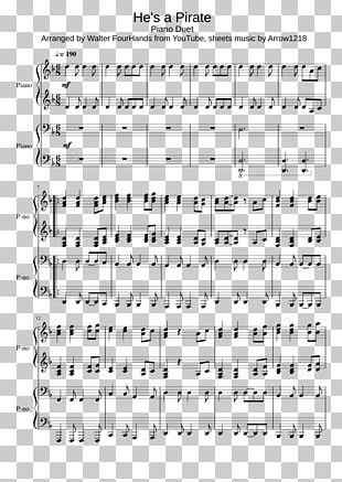 Sheet Music He's A Pirate Piano Duet Piano Four Hands PNG