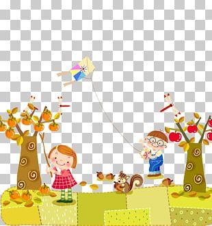 Child Autumn Illustration PNG