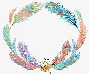Watercolor Painted Gold Feather PNG