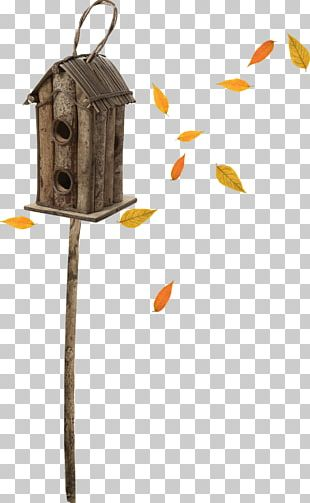 Bird's Nest Falling Leaves Pole PNG