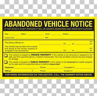 Car Abandoned Vehicle Sticker Parking Violation PNG