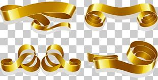 Web Banner Ribbon Gold PNG