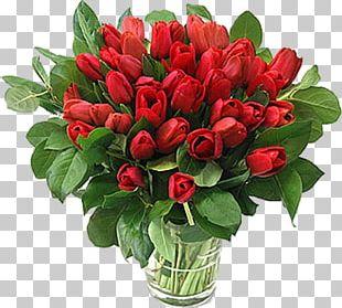 Tulip Red Flower Bouquet Valentine's Day PNG