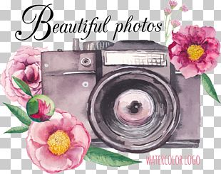 Camera Flower Drawing PNG