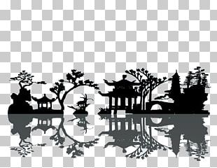 China Silhouette Landscape Painting PNG