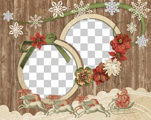Antique Wooden Christmas Photo Frame PNG