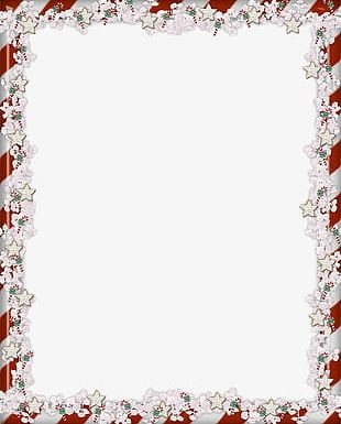 Exquisite Christmas Flower Border Frame PNG