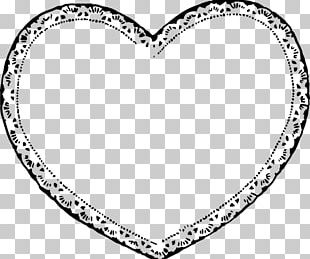 Valentine's Day Heart Black And White PNG