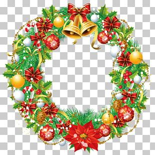 Christmas Wreath Cartoon Santa Claus Stock Illustration PNG